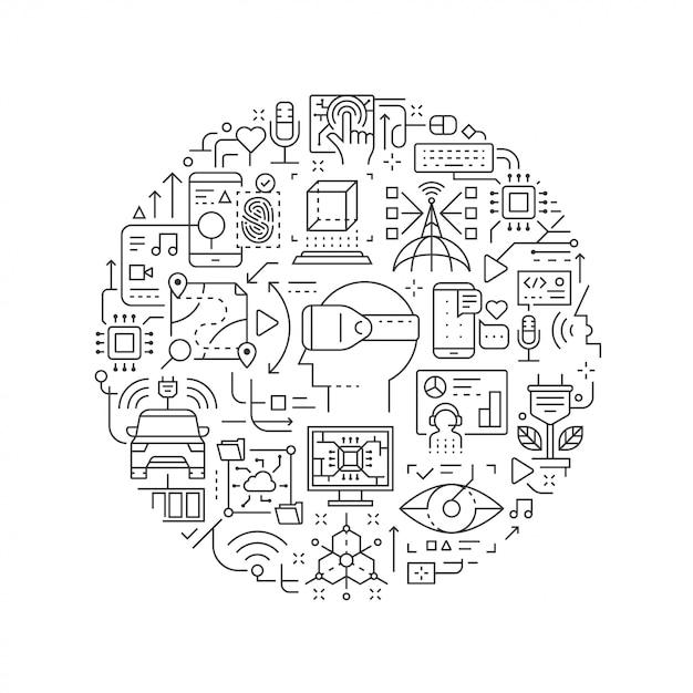 Icônes de ligne de technologie future en forme ronde isolés Vecteur Premium