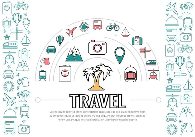 Icônes De Ligne De Voyage Vecteur gratuit
