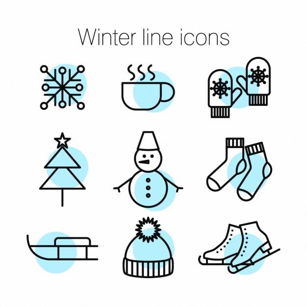 Icônes de la ligne de winter Vecteur gratuit