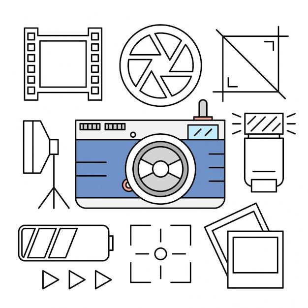Icônes linéaires de caméra et de photographie Vecteur gratuit