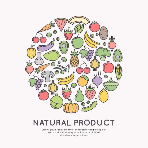 Icônes Linéaires De Légumes Et De Fruits. Images De Silhouette De Produits Et De Nourriture. Illustration. Vecteur Premium