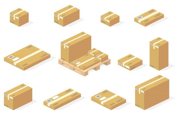Icônes de livraison isolés de boîtes de carton colis Vecteur gratuit