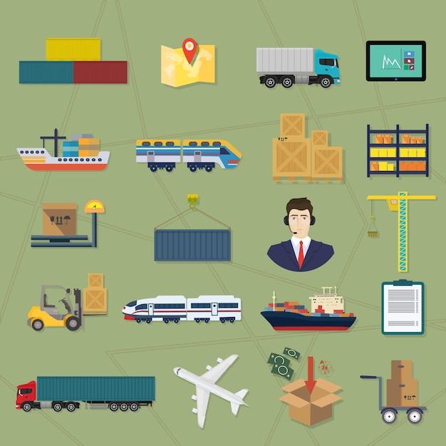 Icônes de logistique. Vecteur Premium