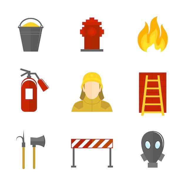 Icônes de lutte contre les incendies à plat Vecteur gratuit