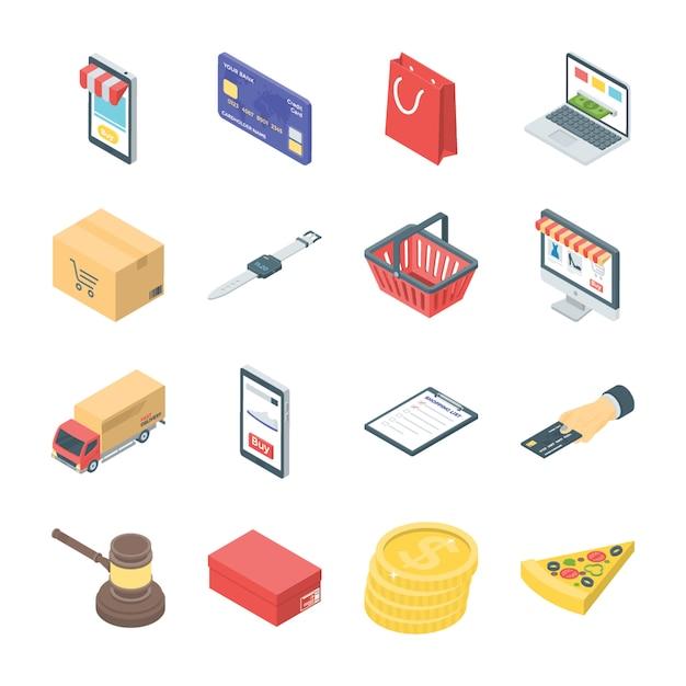Icônes de magasinage en ligne Vecteur Premium