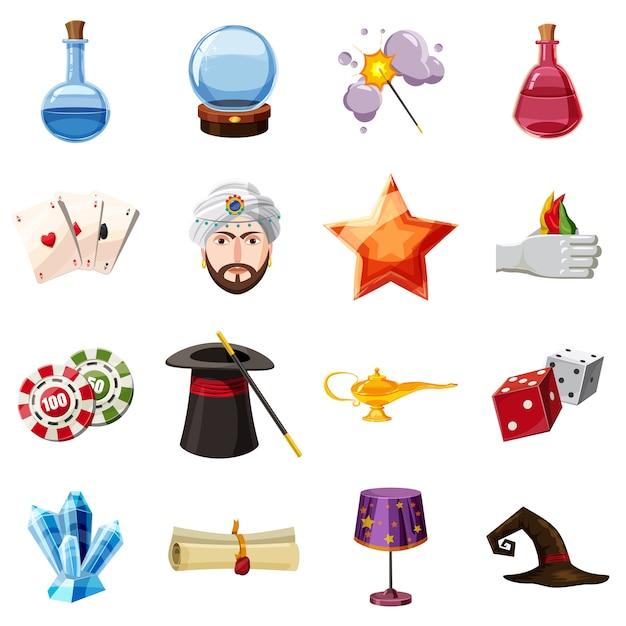 Icônes de magicien définir des éléments. bande dessinée illustration de 16 icônes vectorielles magicien pour le web Vecteur Premium