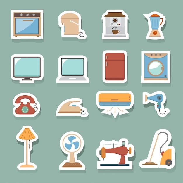 Icônes de la maison électronique Vecteur Premium