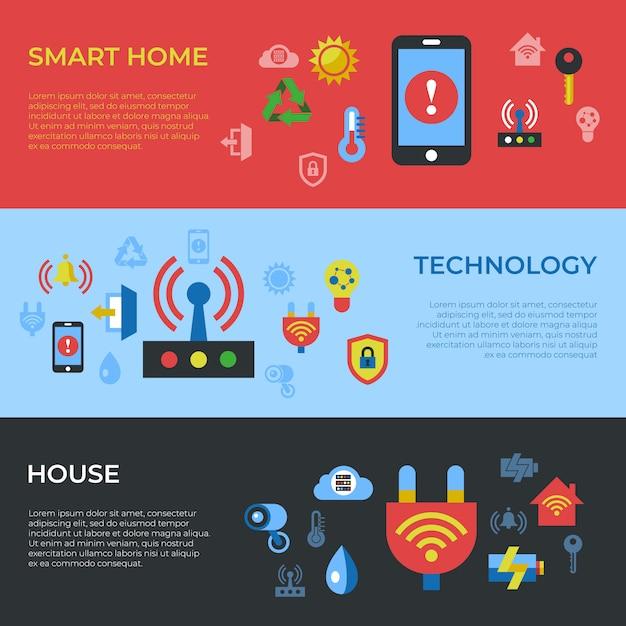 Icônes de maison numérique intelligente sans fil Vecteur Premium