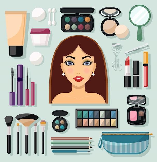 Icônes de maquillage plat Vecteur gratuit