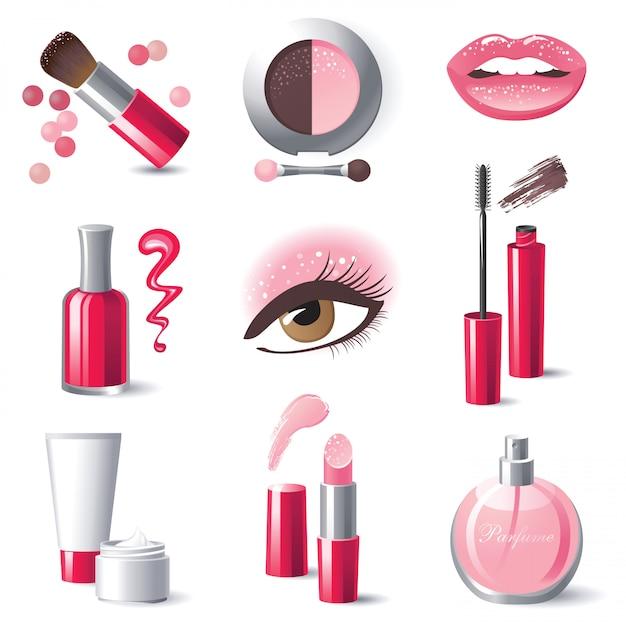 Icônes de maquillage Vecteur Premium