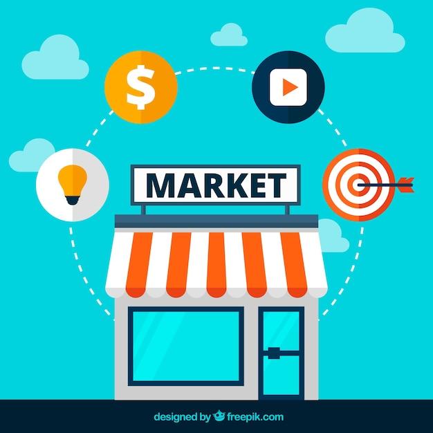 Icônes de marché Vecteur gratuit
