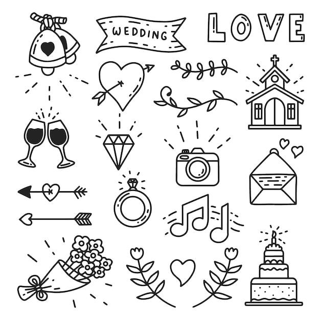 Icônes de mariage dessinés à la main Vecteur Premium