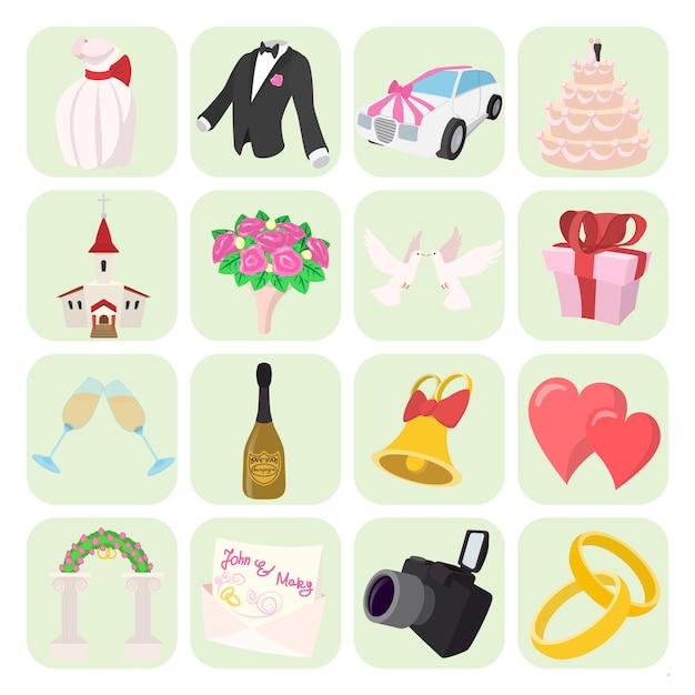 Icônes de mariage en style cartoon Vecteur Premium