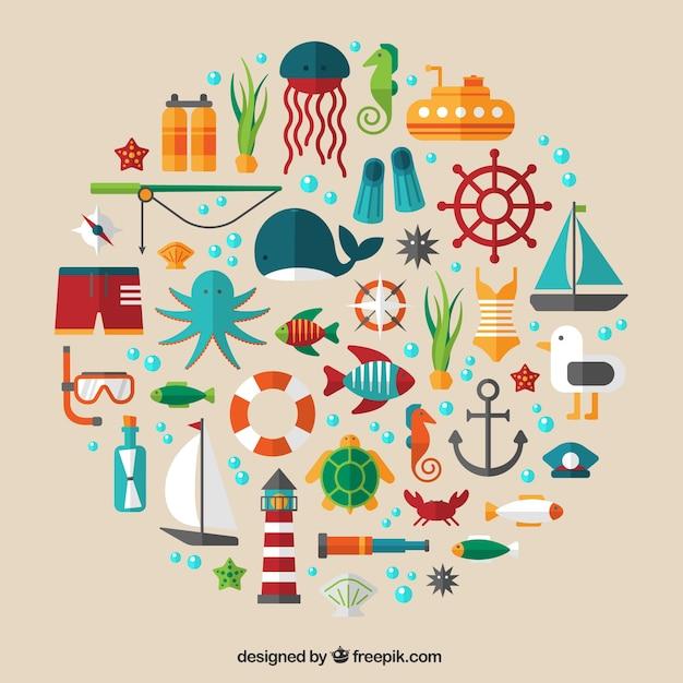 Icônes marins de l'été Vecteur gratuit