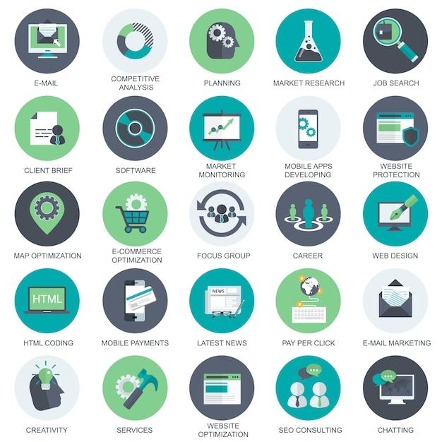 Icônes médias et publicité Vecteur Premium
