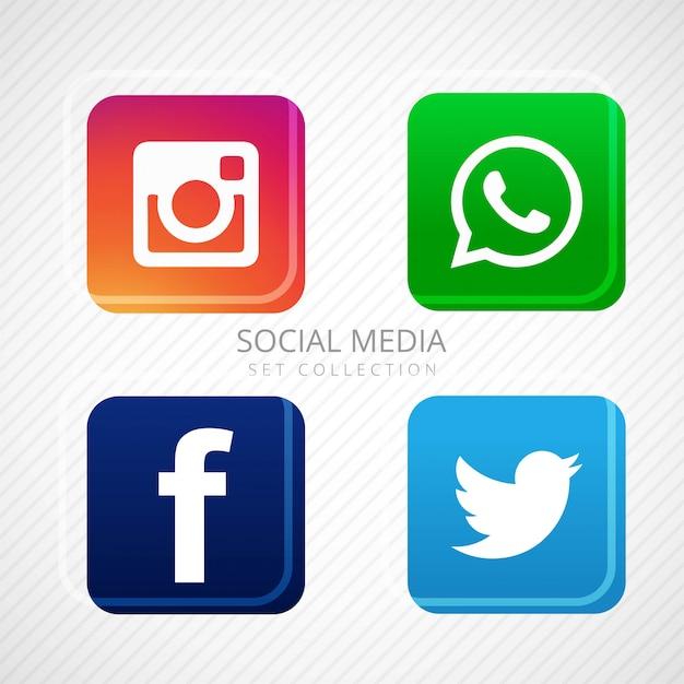 Icônes de médias sociaux abstraites mis en design Vecteur gratuit