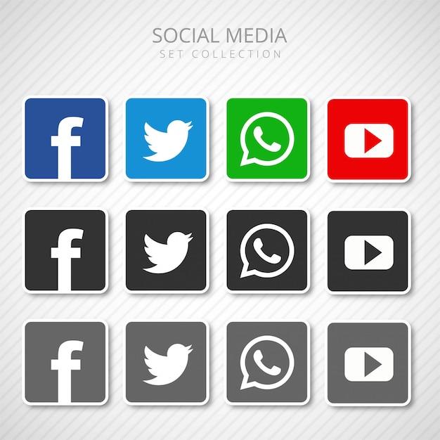 Icônes de médias sociaux abstraits mis vecteur de collection Vecteur gratuit