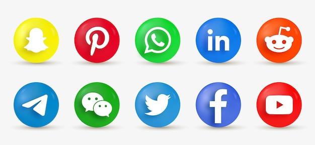 Icônes De Médias Sociaux Bouton Rond 3d - Logotype Ellipse Dans Un Style Moderne Vecteur Premium