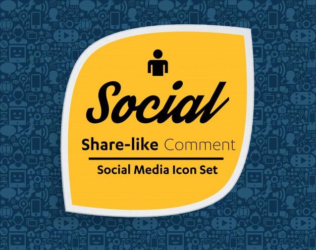 Les icônes de médias sociaux définissent l'arrière-plan du réseau. smiley. partager, aimer, commenter Vecteur Premium