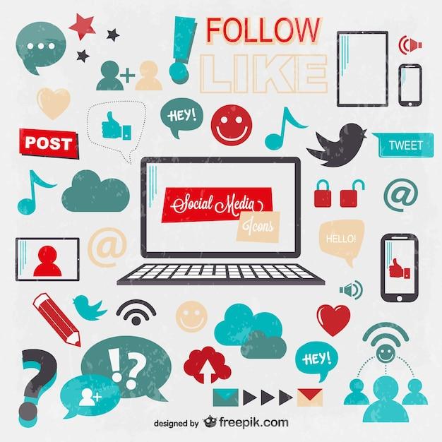 Icônes De Médias Sociaux Fond Vecteur gratuit