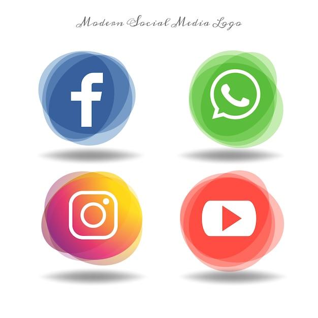 Icônes de médias sociaux modernes mis sur l'ellipse de multiplier Vecteur Premium