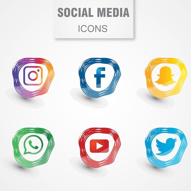 Icônes de médias sociaux modernes Vecteur Premium