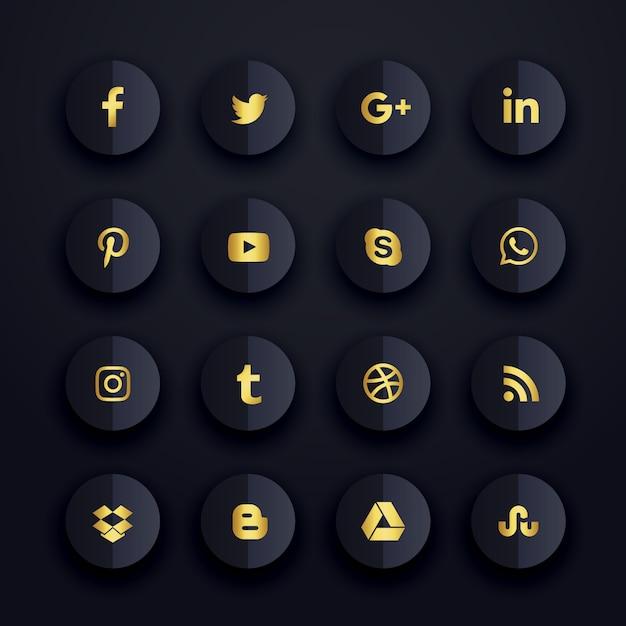 Icônes de médias sociaux sombres établies Vecteur gratuit