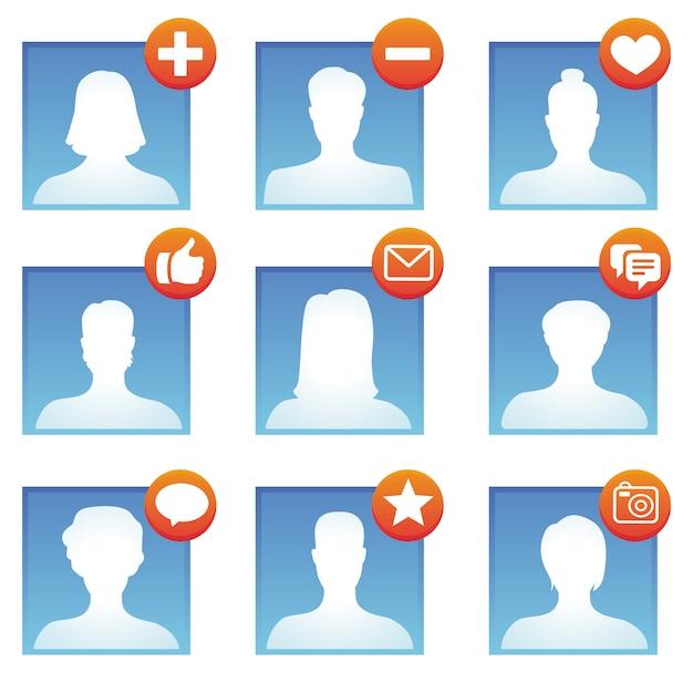 Icônes de médias sociaux vectorielles Vecteur Premium