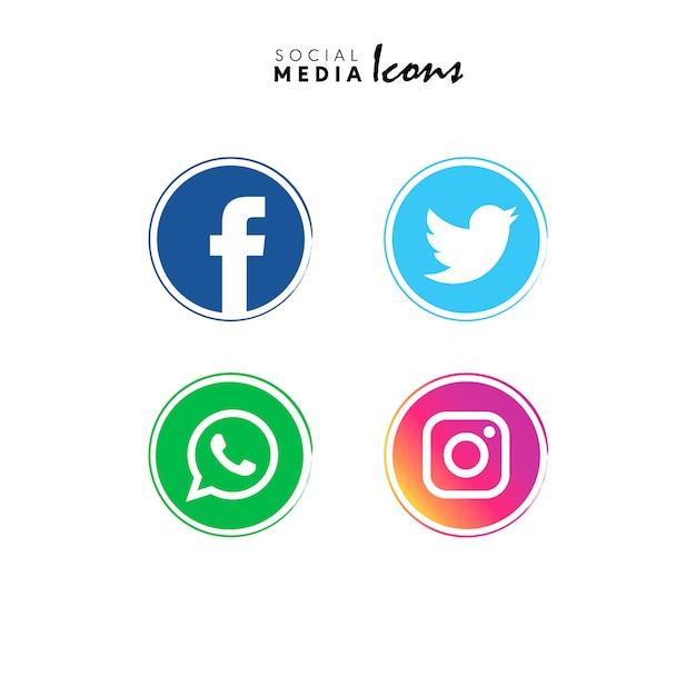 Icônes de médias sociaux Vecteur gratuit