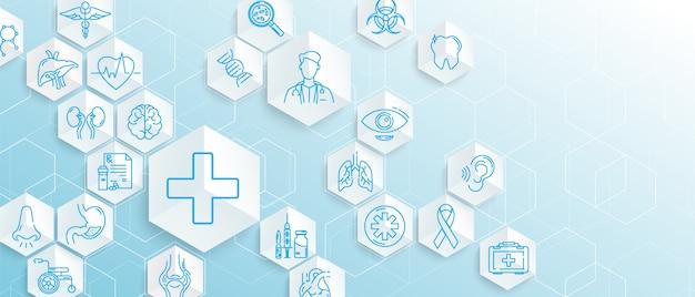 Icônes médicales avec des hexagones géométriques forment fond de concept de médecine et de science Vecteur Premium