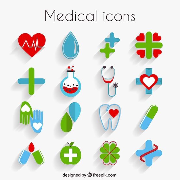Icônes médicaux mignons dans design plat Vecteur gratuit