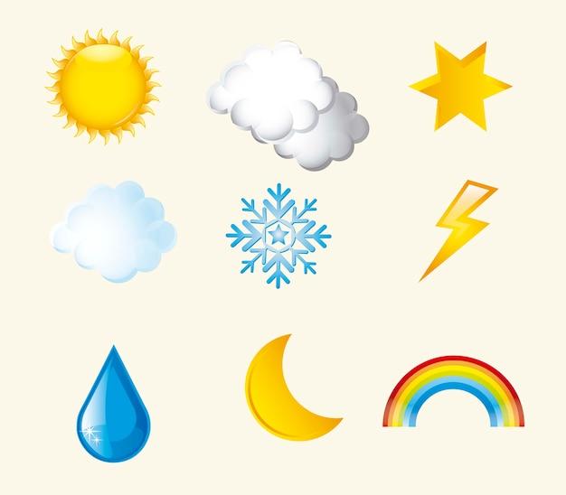 Icônes météo sur illustration vectorielle fond beige Vecteur Premium