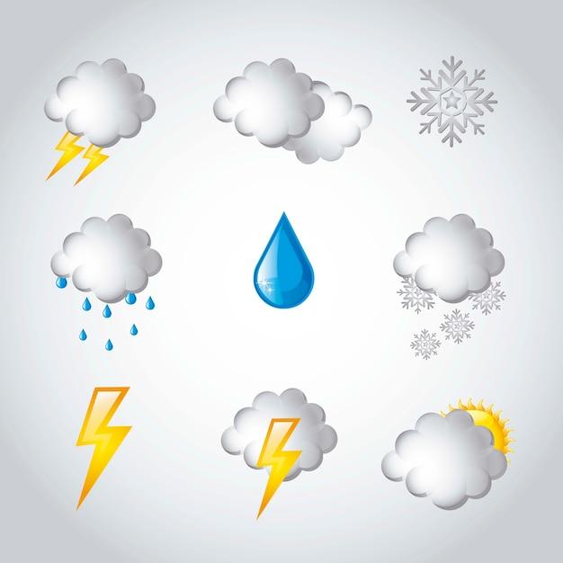 Icônes météo sur illustration vectorielle fond gris Vecteur Premium