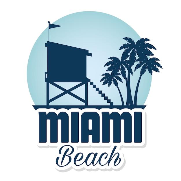 Icônes de miami beach été vector illustration design Vecteur Premium