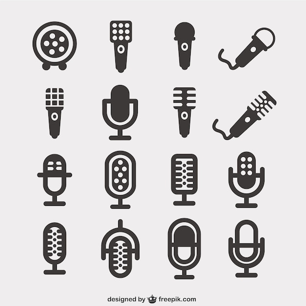 Icônes Microphone Pack Vecteur Premium
