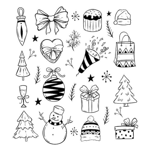 Icônes mignonnes de noël avec style doodle noir et blanc sur fond blanc Vecteur Premium