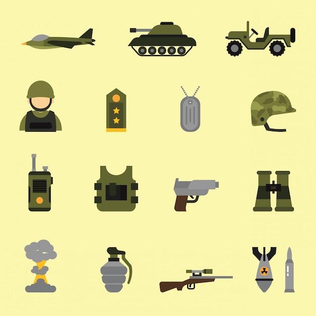Icônes militaires et armes dans le style de couleur plat Vecteur Premium