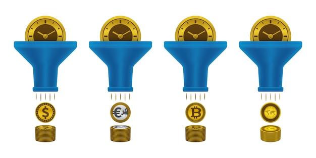 Icônes de monnaie, horloge et entonnoir Vecteur Premium