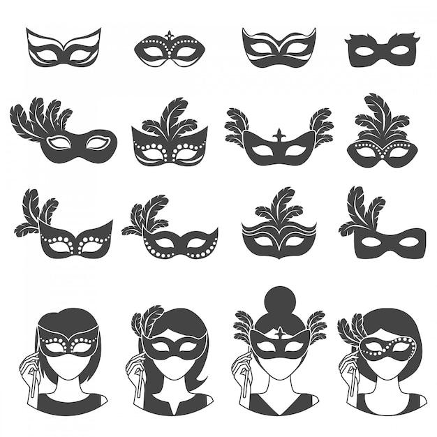 Icônes Monochromes De Carnaval De Boule Vecteur gratuit
