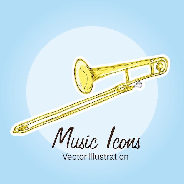 Icônes de la musique (objets et éléments d'instruments) Vecteur Premium