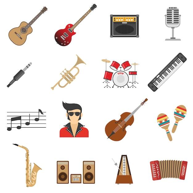 Icônes de musique plat Vecteur gratuit