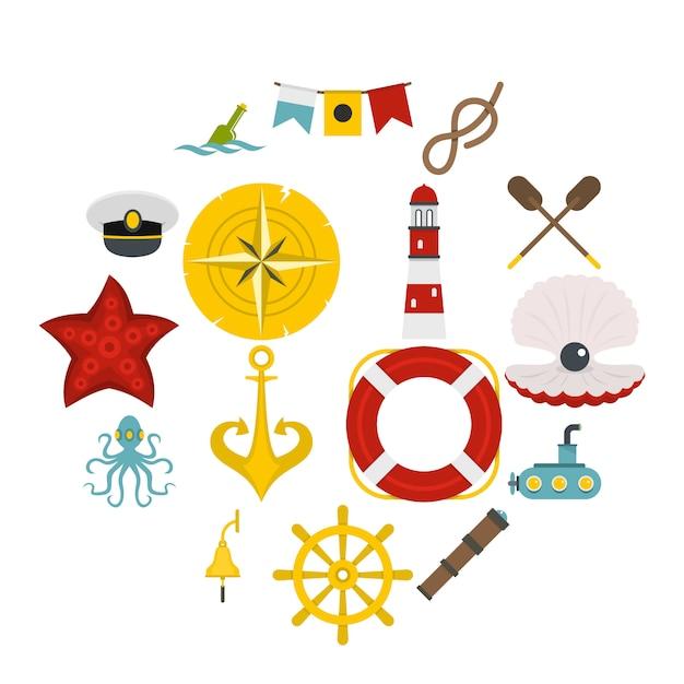 Icônes nautiques définies dans un style plat Vecteur Premium