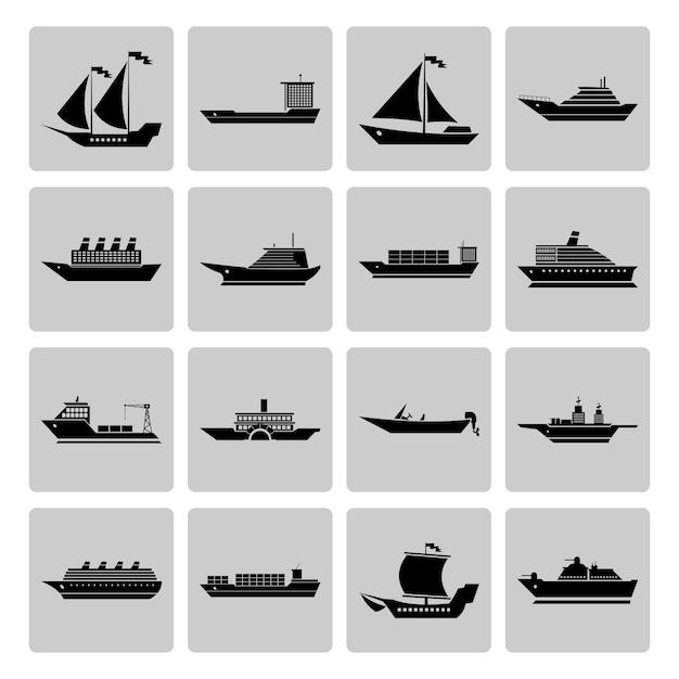 Icônes de navires collectio Vecteur gratuit