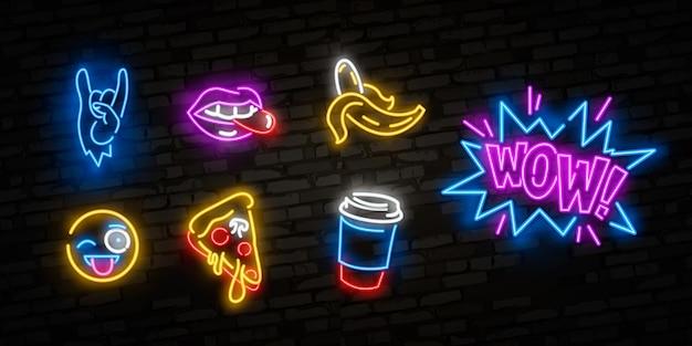 Icônes de néon définies dans un style bande dessinée pop art des années 80-90. Vecteur Premium