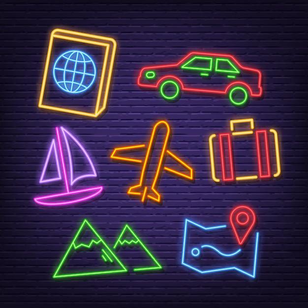 Icônes de néon de voyage Vecteur Premium