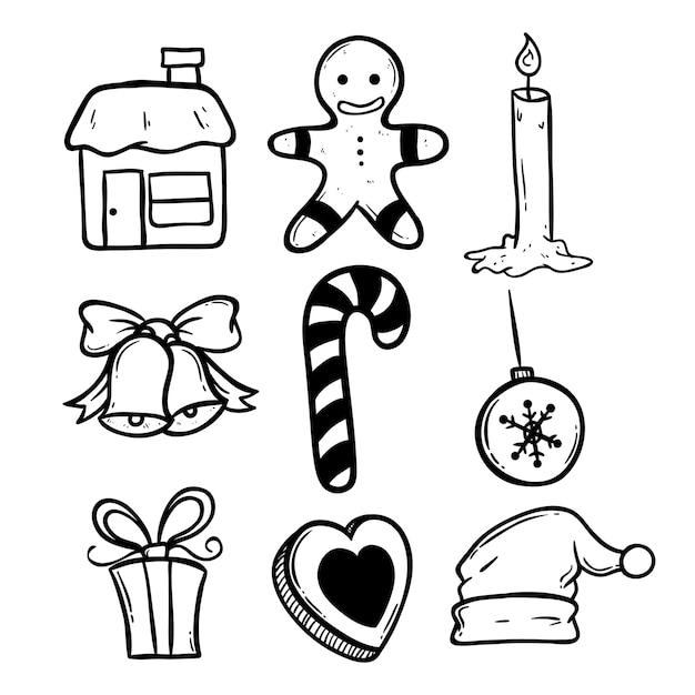Icônes De Noël Noir Et Blanc à Laide De Doodle Art