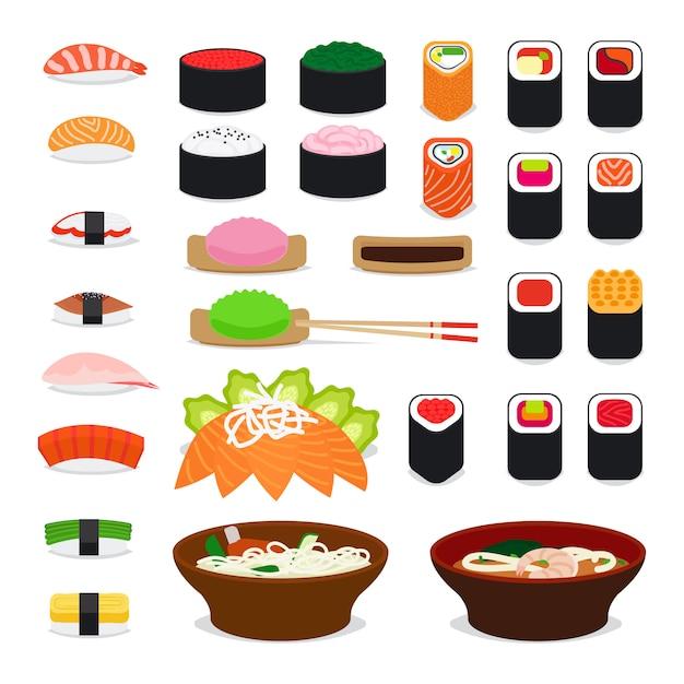 Icônes de nourriture en asie Vecteur Premium