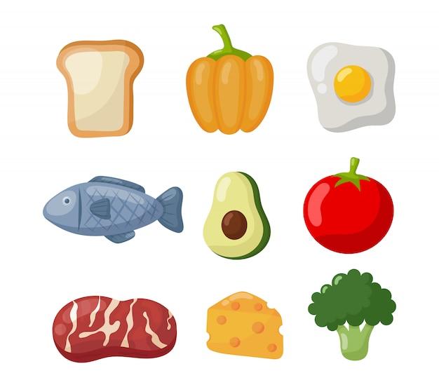 Icônes de nourriture d'épicerie Vecteur Premium
