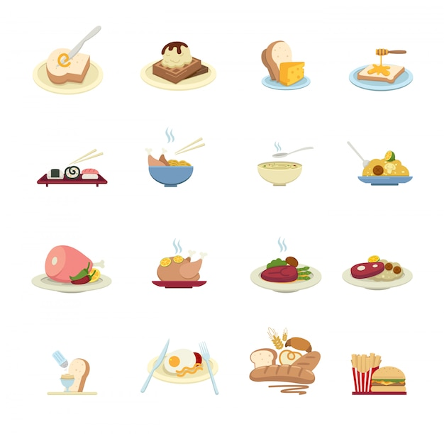 Icônes de nourriture isolés sur fond blanc Vecteur Premium