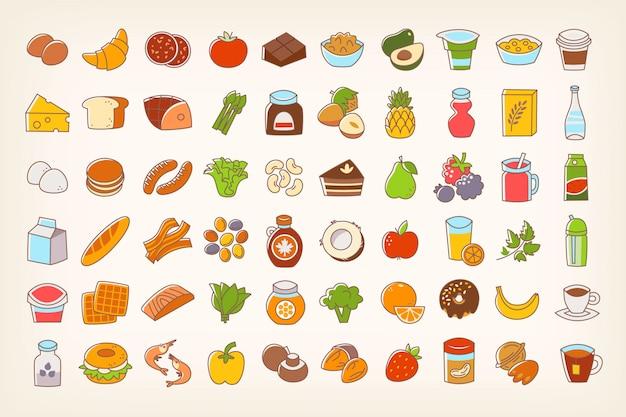 Icônes de nourriture ligne colorée accident vasculaire cérébral Vecteur Premium